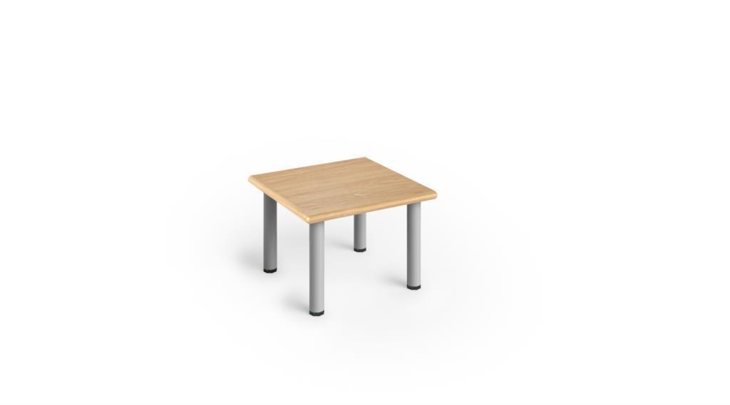Tavolino Attesa 60x60 Bordo Legno Con Gambe Verniciate H